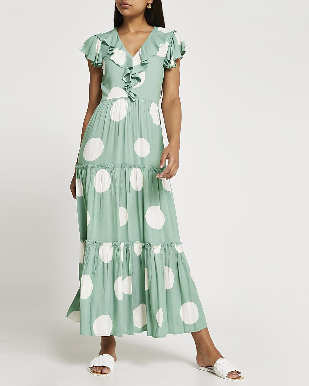 Green polka dot tiered maxi dress
