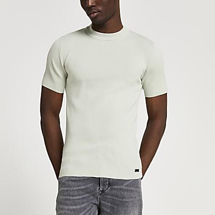 Green premium knitted slim fit t-shirt