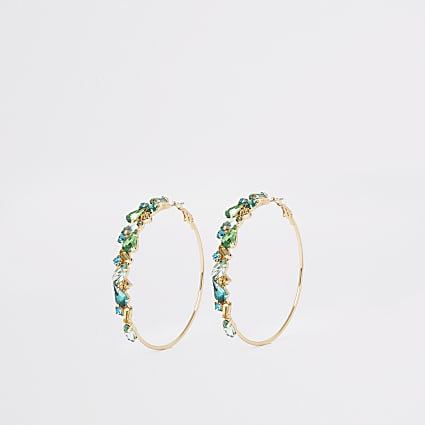 Green pretty jewel hoop earrings