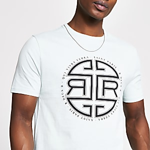 Kurzärmeliges Slim Fit T-Shirt in Grün mit Print