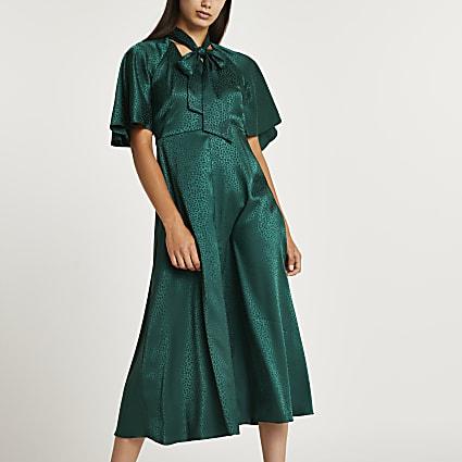 Green print tie neck midi dress
