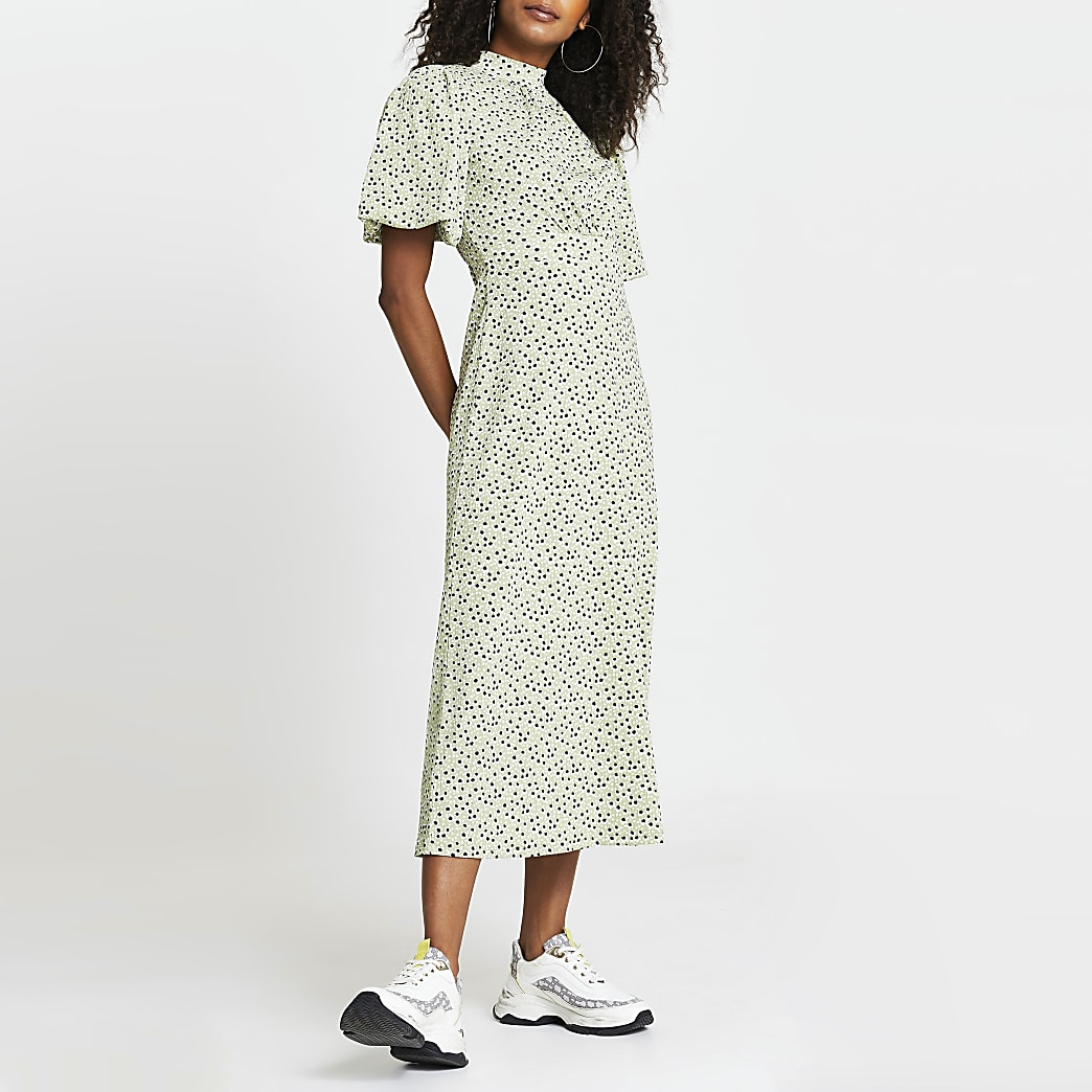 Green printed puff sleeve midi dress
