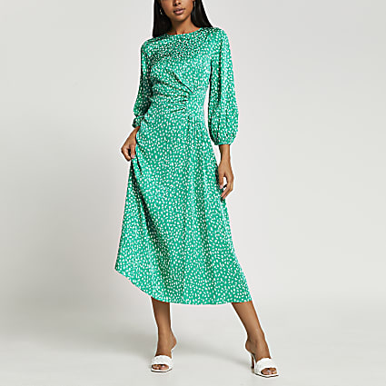 Green printed side ruched maxi dress