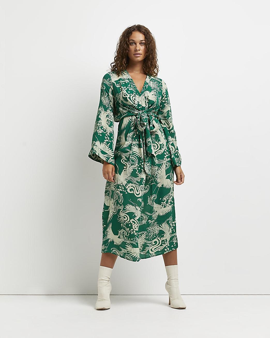 Green printed wrap front midi dress