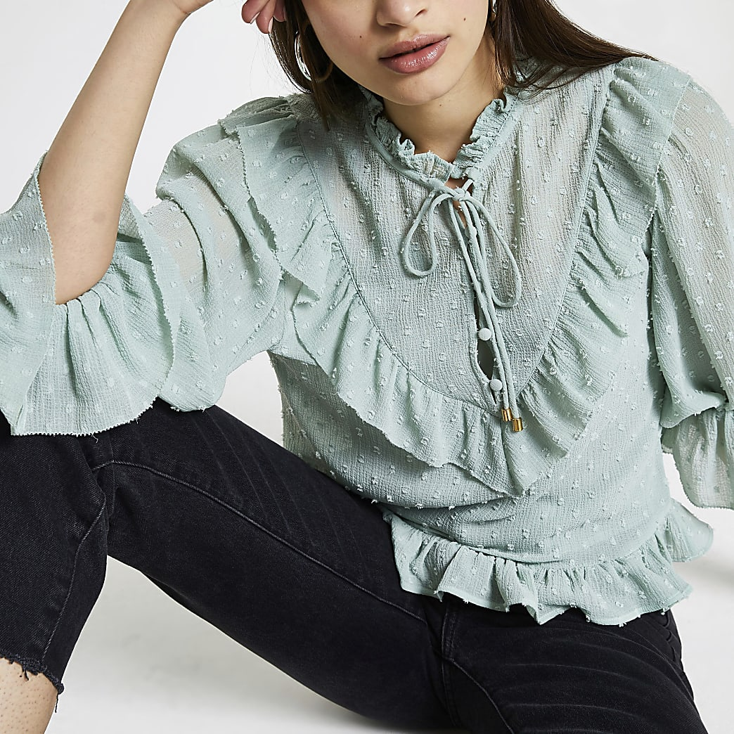 Green puff sleeve frill blouse top