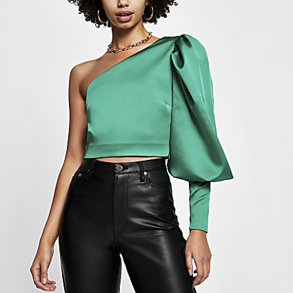 Green puff sleeve one shoulder top