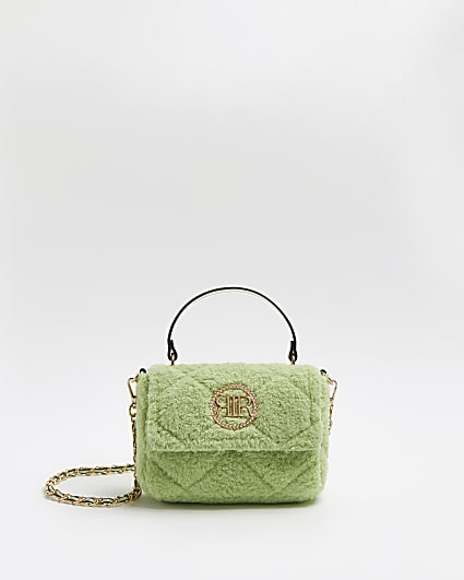Green quilted borg crossbody bag