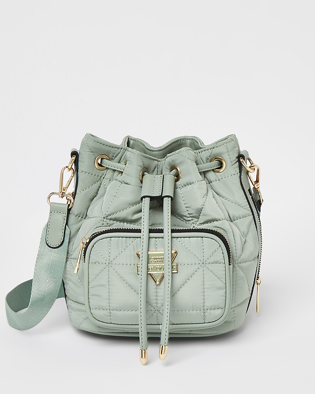 Green quilted bucket bag