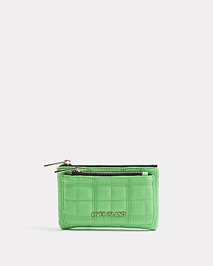 Green quilted purse