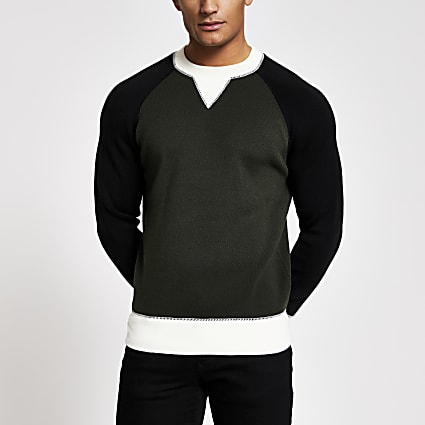 Green raglan colour blocked knitted jumper