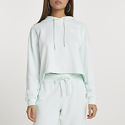 Green raw edge long sleeve hoodie