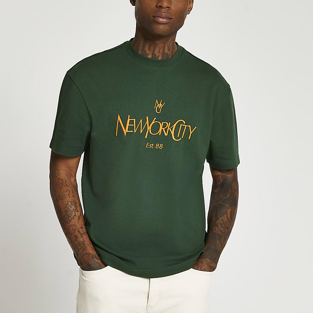 Green regular fit graphic t-shirt