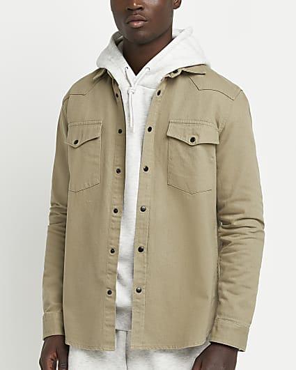 Green regular fit long sleeve denim shirt