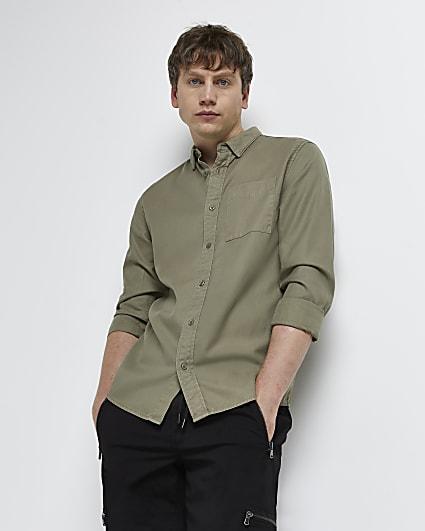 Green regular fit lyocell twill shirt