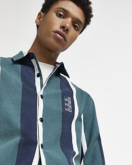 Green regular fit stripe long sleeve shirt
