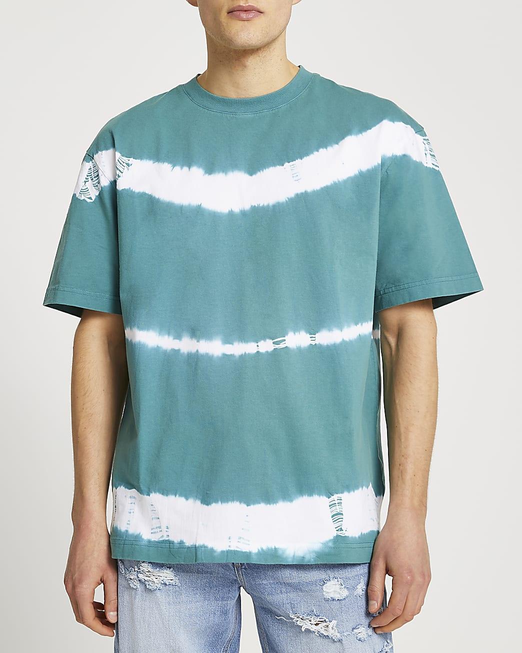 Green regular fit tie dye t-shirt