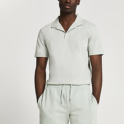 Green revere slim fit short sleeve polo shirt