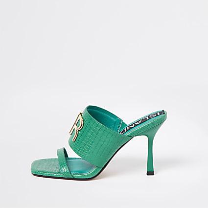 Green RI branded heeled mules