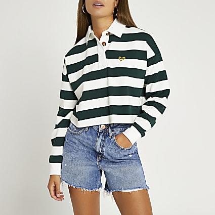 Green RI branded stripe polo shirt