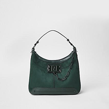 Green RI chain detail slouch bag