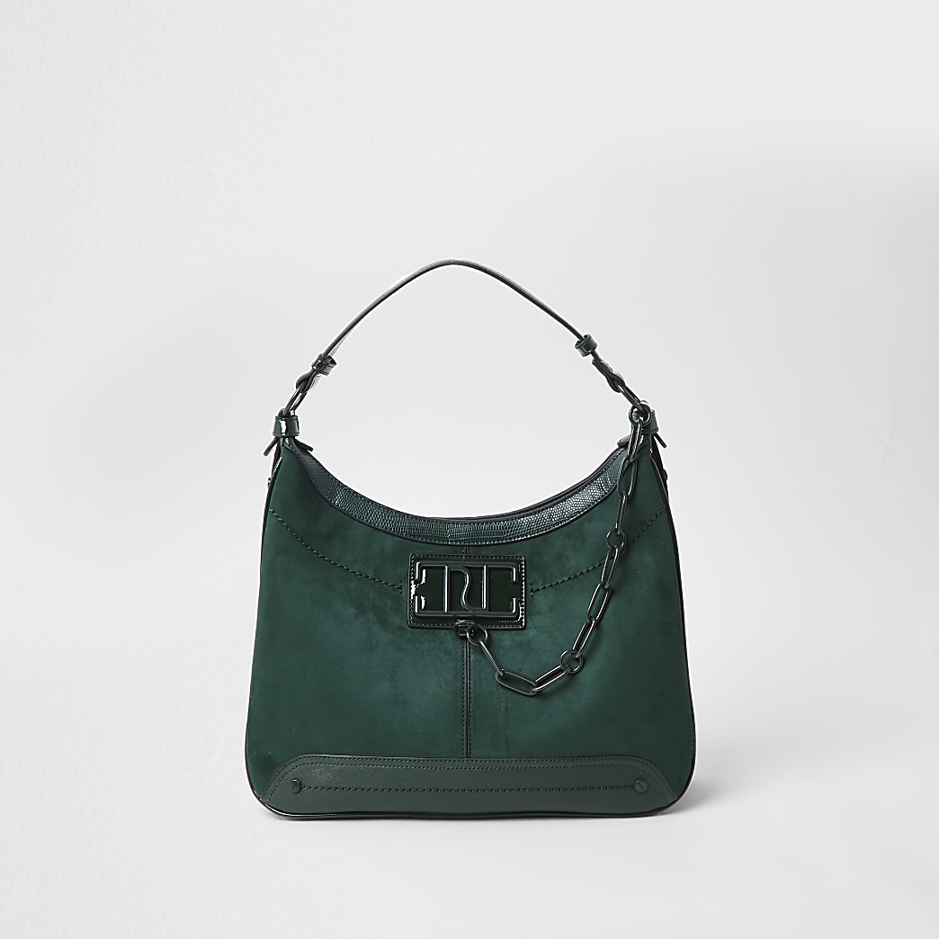 Green RI chain detail slouch bag