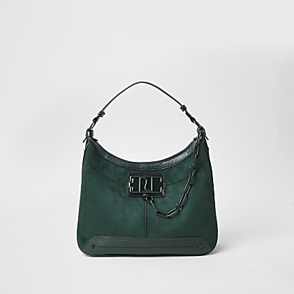 Green RI chain detail slouch handbag