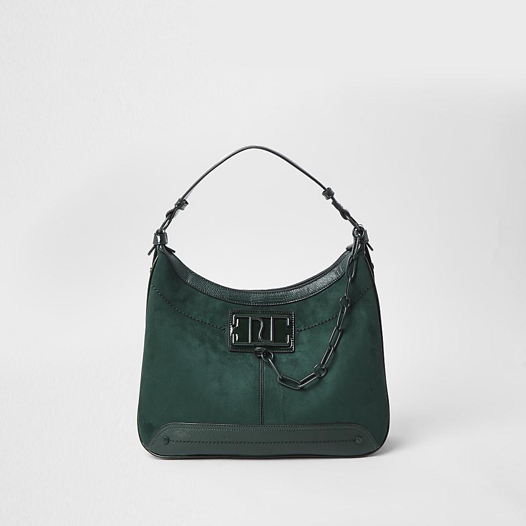 Green RI chain detail slouch handbag