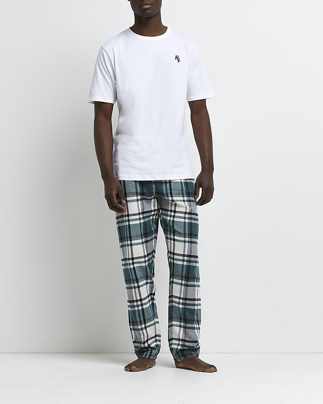 Green RI check print pyjama set