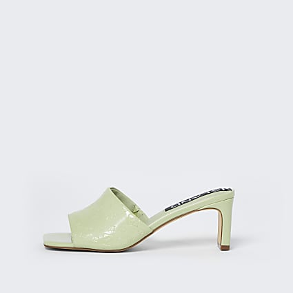 Green RI embossed block heel mules