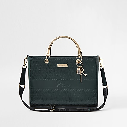 Green RI embossed boxy quilted tote bag