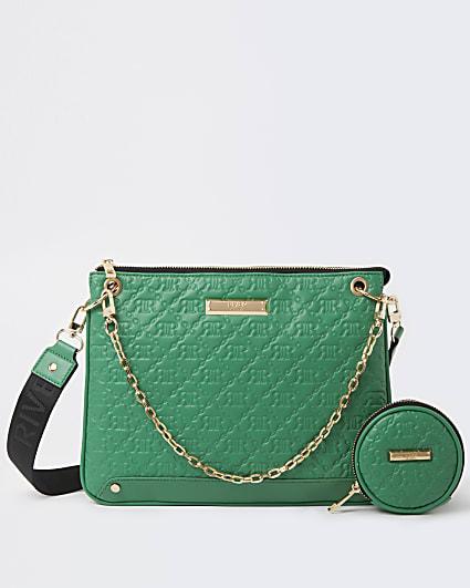 Green RI embossed cross body bag