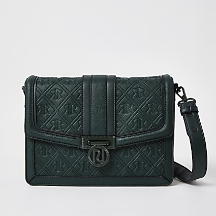 Green RI embossed satchel handbag