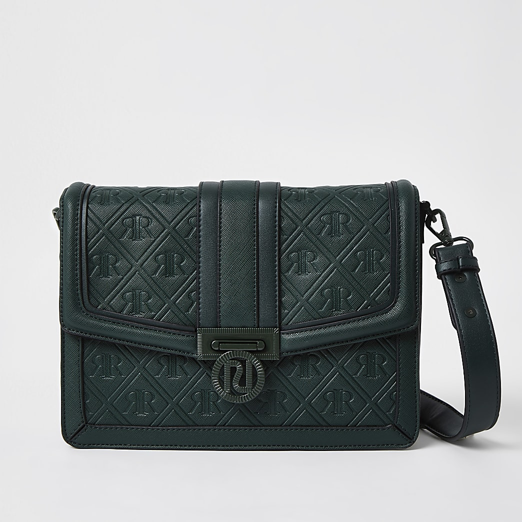 Green RI embossed satchel handbag