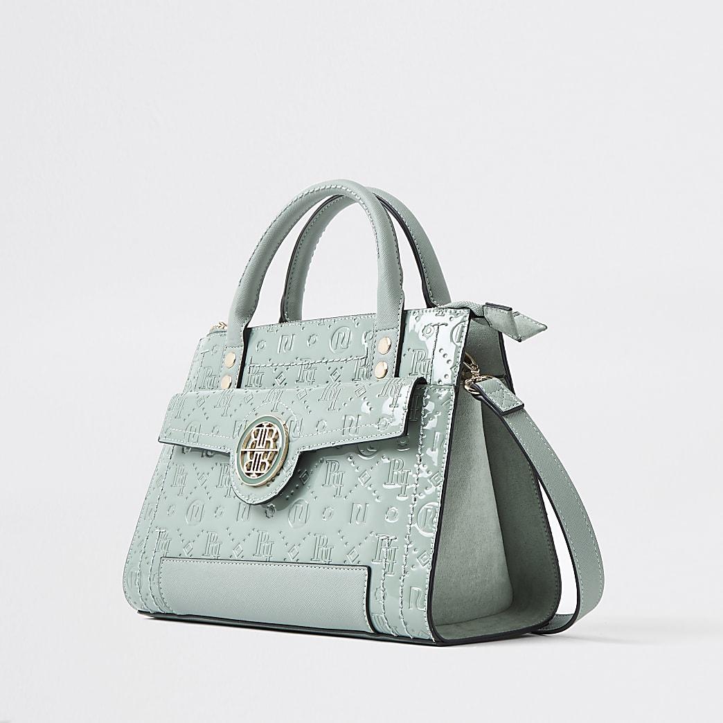Green RI embossed tote bag