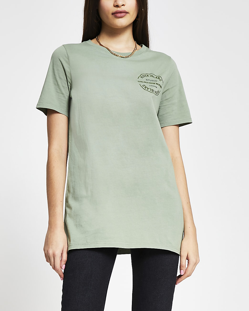 Green RI embroidered boyfriend t-shirt