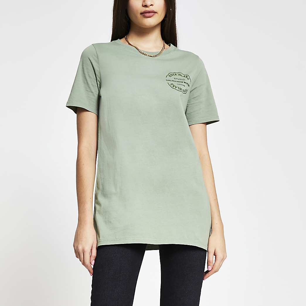 Green RI embroidered boyfriend t-shirt