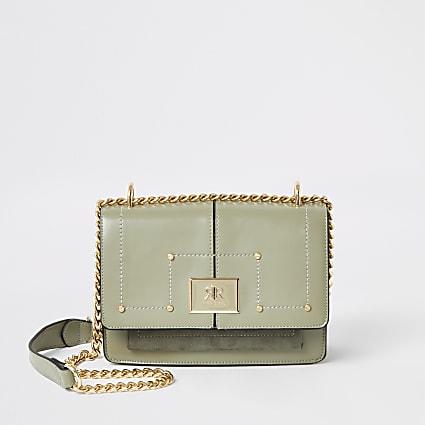 Green RI fold over cross body satchel handbag