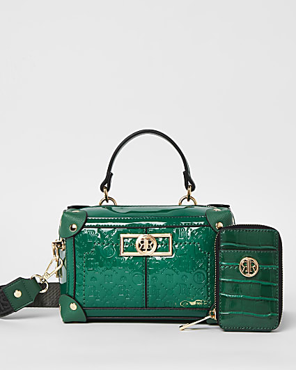 Green RI monogram embossed trunk bag