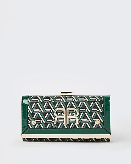 Green RI monogram print purse