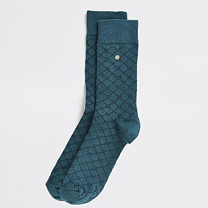 Green RI monogram printed socks