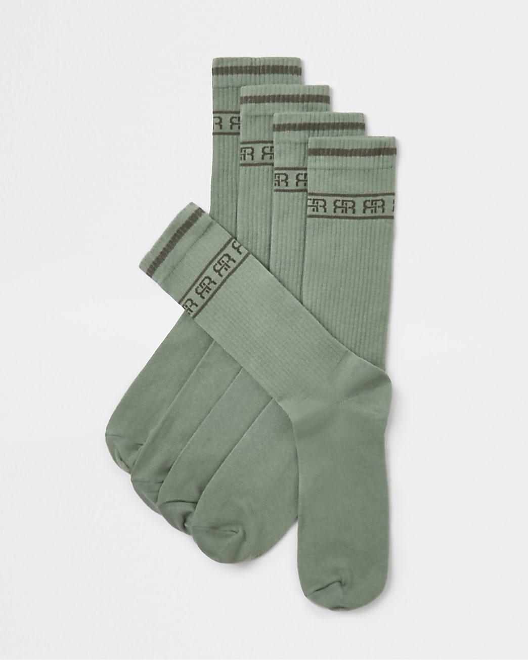Green RI monogram stripe tube socks 5 pack