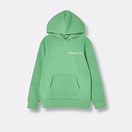 Green RI ONE back print hoodie