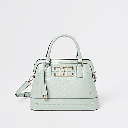 Green RI patent embossed tote bag