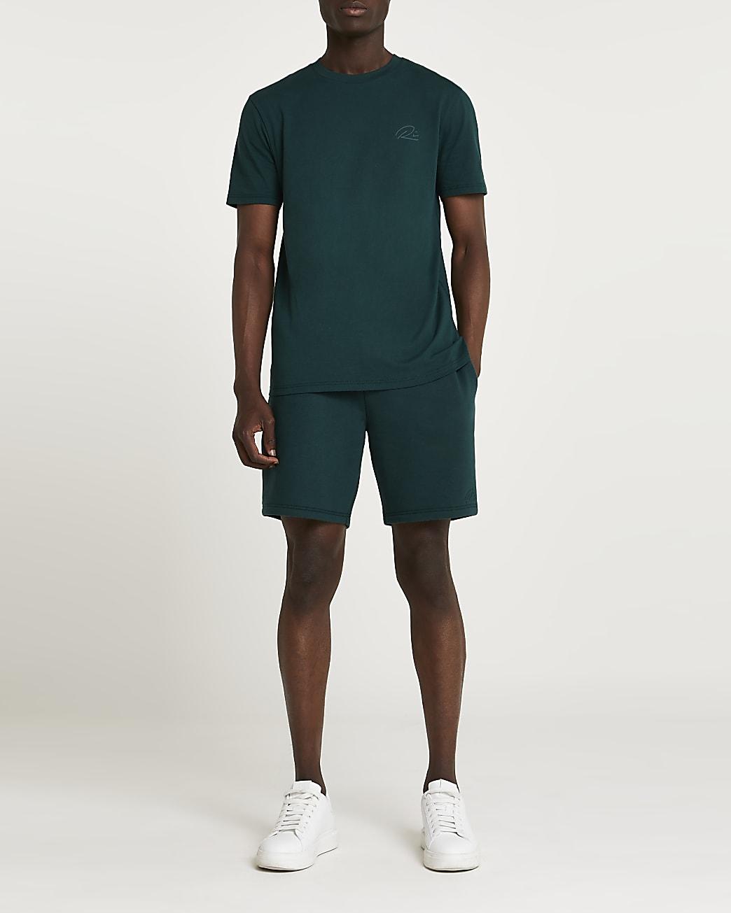Green RI slim fit t-shirt and shorts set