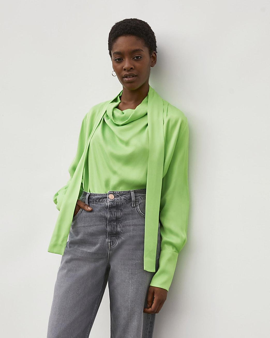 Green RI Studio Cowl Tie Neck Blouse