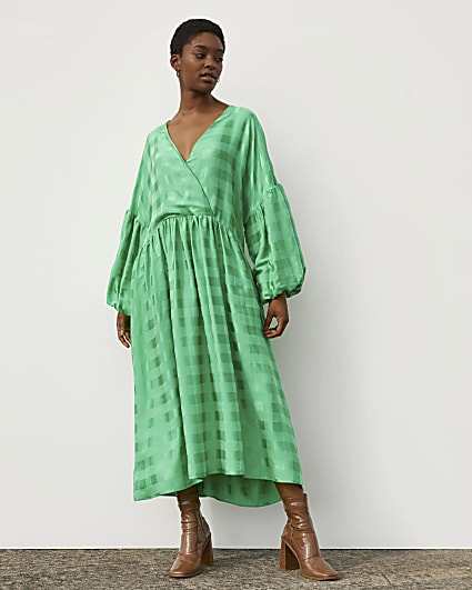 Green RI Studio Jacquard Oversized Maxi Dress