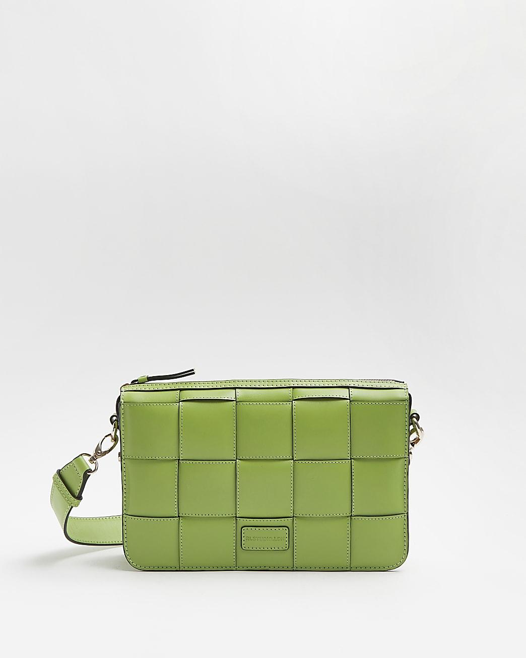 Green RI Studio Leather Bag and Purse Set