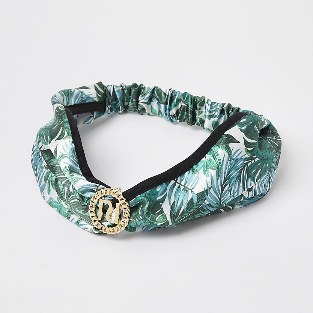 Green RI tropical print headband