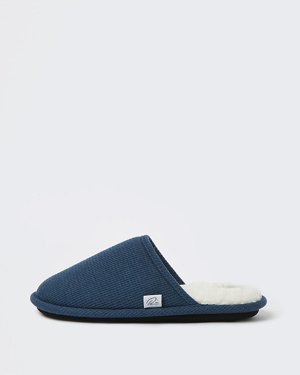 Green RI waffle mule slippers