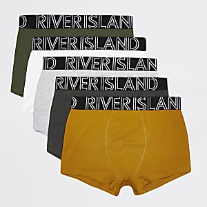 Green RI waistband 5 pack hipster